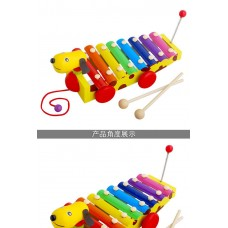 wooden xylophone puppy dog with string